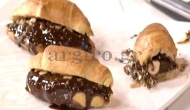 Κρουασάν με σπιτική πραλίνα, σταγόνες σοκολάτας και φουντούκια, από την Αργυρώ μας!