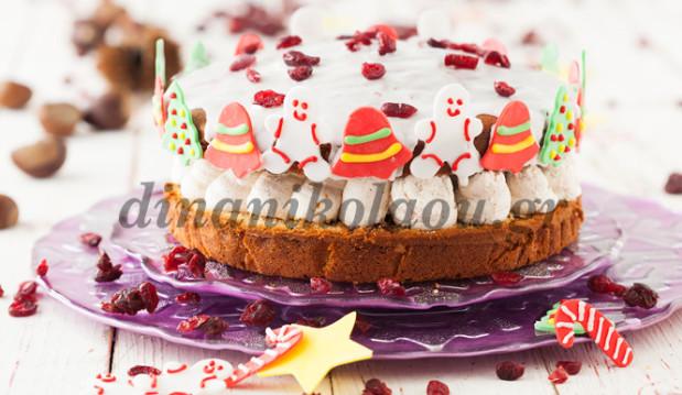 Βασιλόπιτα κέικ με αποξηραμένα φρούτα και κρέμα κάστανου από την Ντίνα Νικολάου!