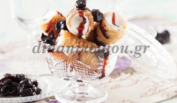 Σαραγλί γεμιστό με παγωτό καϊμάκι, από την Ντίνα Νικολάου!