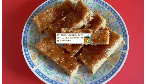 Μπάρες με ταχίνι και επικάλυψη μαρμελάδας (νηστίσιμη εκδοχή), από την Αντριάννα και τις Σπιτικές μαρμελάδες και γλυκά κουταλιού by Andriana!