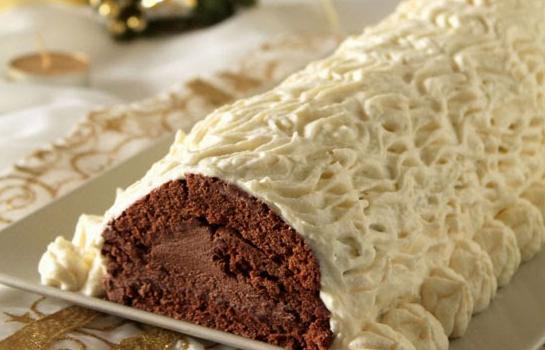 Κορμός με σοκολατένια κρέμα κάστανου και επικάλυψη λευκής σοκολάτας, από το sintayes.gr!