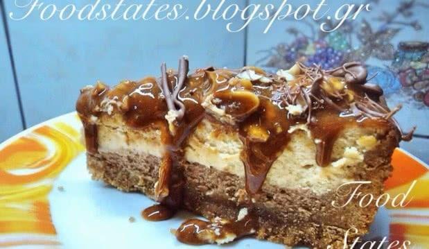 Cheesecake καραμέλας με φιστίκια και σοκολάτα, από τον Λευτέρη και την Δήμητρα του Foodstates.gr!