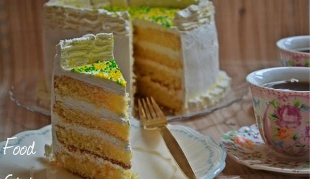 Τετραώροφη τούρτα λεμονιού με γλάσο κρέμα τυρί, από το Foodstates!
