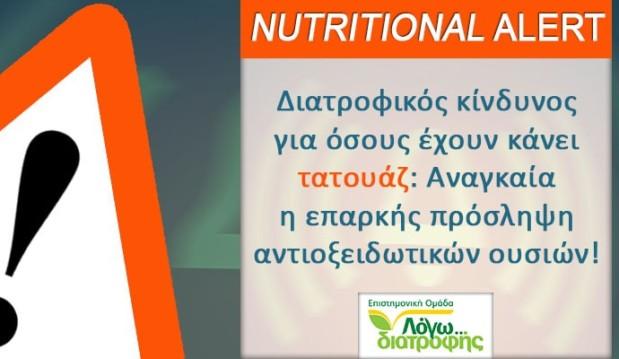 «NUTRITIONAL ALERT: Διατροφικός κίνδυνος για όσους έχουν τατουάζ : Αναγκαία η επαρκής πρόσληψη αντιοξειδωτικών ουσιών!», από τον Δημήτρη Γρηγοράκη και το logodiatrofis.gr!