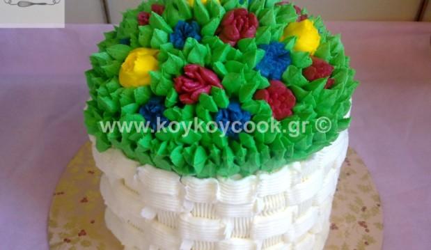 Τούρτα μόκα-σοκολάτα καλάθι με λουλούδια από βουτυρόκρεμα, από την αγαπημένη Ρένα Κώστογλου και το koykoycook.gr!