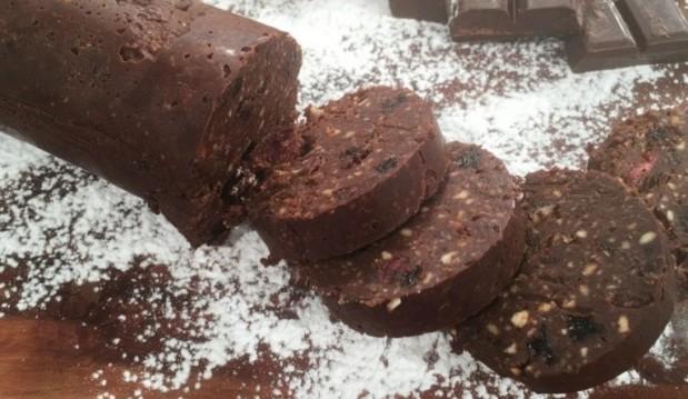Σαλάμι σοκολάτας vegan χωρίς ζάχαρη (super food), από το argiro.gr!