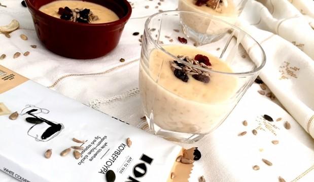 Ρυζόγαλο με λευκή κουβερτούρα ΙΟΝ, από την Αριάδνη Πούλιου και το ionsweets.gr!