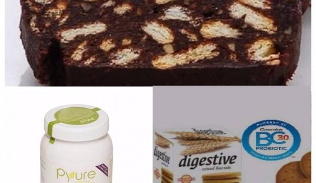 Κορμός με μπισκότα digestive χωρίς ζάχαρη και pyure stevia,  από την Stevia pyure greece και το naturalbuys.gr!