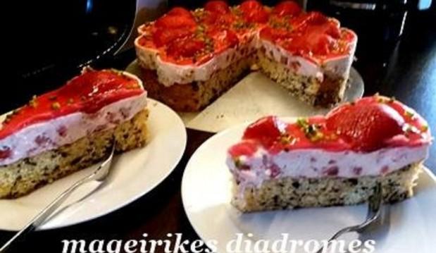 Μπισκοτένια βάση με φράουλα, από την Γεωργία και τις Μαγειρικές Διαδρομές!