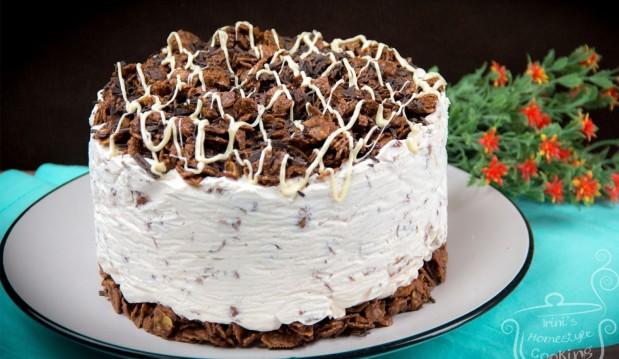 Λαχταριστή τούρτα παγωτό με δημητριακά και πραλίνα φουντουκιού μόνο με 4 υλικά (VIDEO), από την Ειρήνη και τα kalomageiremata-Ice cream cake ONLY with 4 ingredients by Irini's Specialplace!