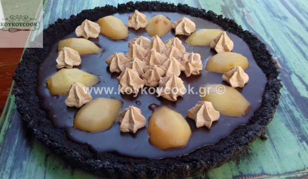 Σοκολατένια τάρτα με αχλάδια ποσέ (χωρίς ψήσιμο), από την αγαπημένη Ρένα Κώστογλου και το koykoycook.gr!